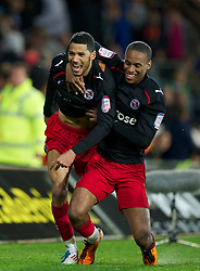 CARDIFF, WALES - Tuesday, May 17, 2011: Reading's Jobi McAnuff celebrates scoring the third goal against Cardiff City during the Football League Championship Play-Off Semi-Final 2nd Leg match at the Cardiff City Stadium. (Photo by David Rawcliffe/Propaganda)