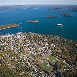A cruise ship anchored in Bar Harbor, Maine.  Mount Desert Island.  Frenchman Bay.
