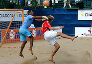 07 December 2006, Brazil's goal keeper Mao defends against England's James Temple during the first game of the Vodacom Pro Beach Soccer Tour starts at Durban's Bay of Plenty on Thursday. Brazil won the game 10 - 3. Picture: Shayne Robinson, PhotoWire Africa