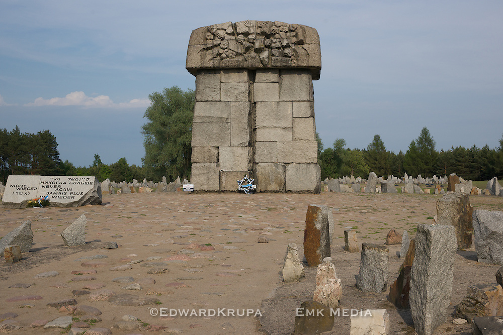 The memorial at Treblinka .Placed on the site the gas chambers once stood.