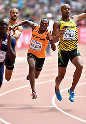 29-08-2015 CHN: IAAF World Championships Athletics day 7, Beijing<br /> Patrick van Luijk (NED),  Liemarvin Bonevacia (NED) and Asafa Powell (JAM). Photo by Ronald Hoogendoorn / Sportida