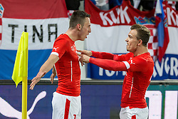 05.03.2014, AFG Arena, St. Gallen, SUI, Testspiel, Schweiz vs Kroatien, im Bild Josip Drmic, Xherdan Shaqiri (SUI) jubeln zum 2:1 // during the International Friendly match between Switzerland and Croatia at the AFG Arena in St. Gallen, Switzerland on 2014/03/06. EXPA Pictures © 2014, PhotoCredit: EXPA/ Freshfocus/ Claudia Minder<br /> <br /> *****ATTENTION - for AUT, SLO, CRO, SRB, BIH, MAZ only*****