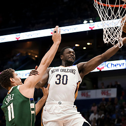 Mar 12, 2019; New Orleans, LA, USA; New Orleans Pelicans center Julius Randle (30) shoots over Milwaukee Bucks center Brook Lopez (11) during the first quarter at the Smoothie King Center. Mandatory Credit: Derick E. Hingle-USA TODAY Sports