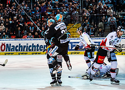 12.11.2019, Keine Sorgen Eisarena, Linz, AUT, EBEL, EHC Liwest Black Wings Linz vs HC Orli Znojmo, 19. Runde, im Bild v.l. Brian Lebler (EHC Liwest Black Wings Linz), Dragan Umicevic (EHC Liwest Black Wings Linz) feiern das 2 zu 2 // during the Erste Bank Eishockey League 19th round match between EHC Liwest Black Wings Linz and HC Orli Znojmo at the Keine Sorgen Eisarena in Linz, Austria on 2019/11/12. EXPA Pictures © 2019, PhotoCredit: EXPA/ Reinhard Eisenbauer