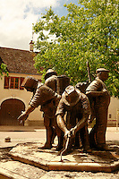 "the sculpture ""work in the vineyards"" in the center of Puligy-Montrachet..Concept by François Dubreuil, sculptor Gladys le Bihan..Photo by Owen Franken for the NY Times..May 28, 2008."