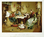 The Flower of the Flock' Artisan country family at the tea table showing loving, hopeless concern for a child who has not long to live. Chromolithograph after painting by Joseph Clark c1890