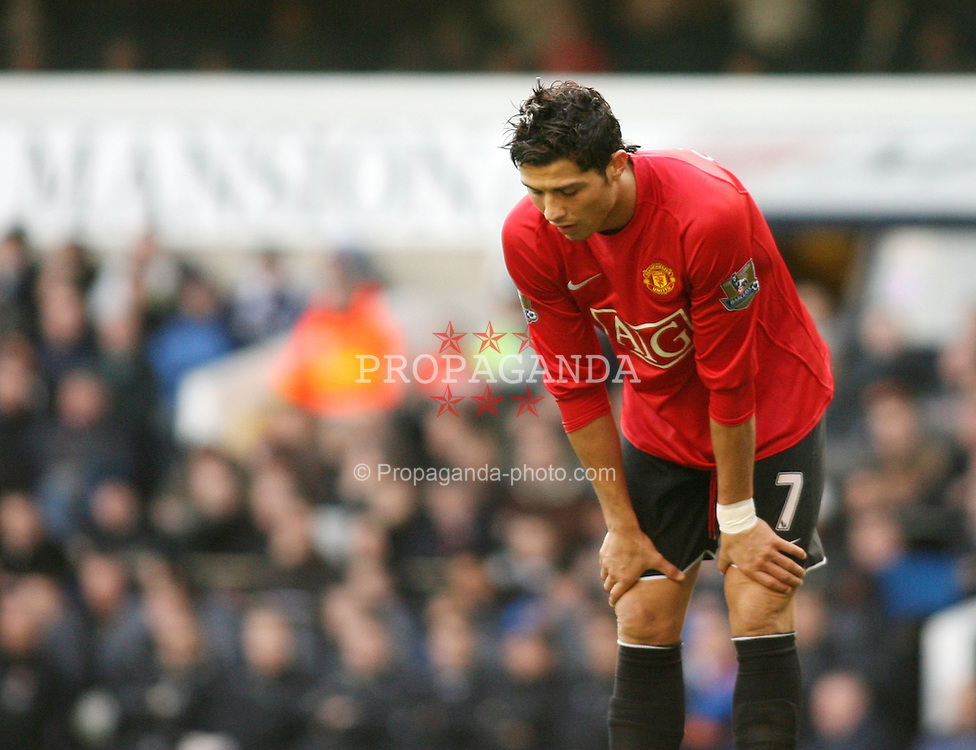 LONDON, ENGLAND - Saturday, February 2, 2008: Manchester United's Cristiano Ronaldo is dejected against Tottenham Hotspur during the Premiership match at White Hart Lane. (Photo by Chris Ratcliffe/Propaganda)