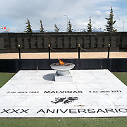The Malvinas War Memorial, a large war memorial on a waterfront park in Ushuaia, Argentina, dedicated to what the 1982 conflict between Argentina and the United Kingdom, over what are known in Britain as the Falkland Islands and are known in Argentina as the Malvinas Islands.