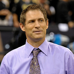 2009 November 30: ESPN analyst Steve Young on the sideline during a 38-17 win by the New Orleans Saints over the New England Patriots at the Louisiana Superdome in New Orleans, Louisiana.