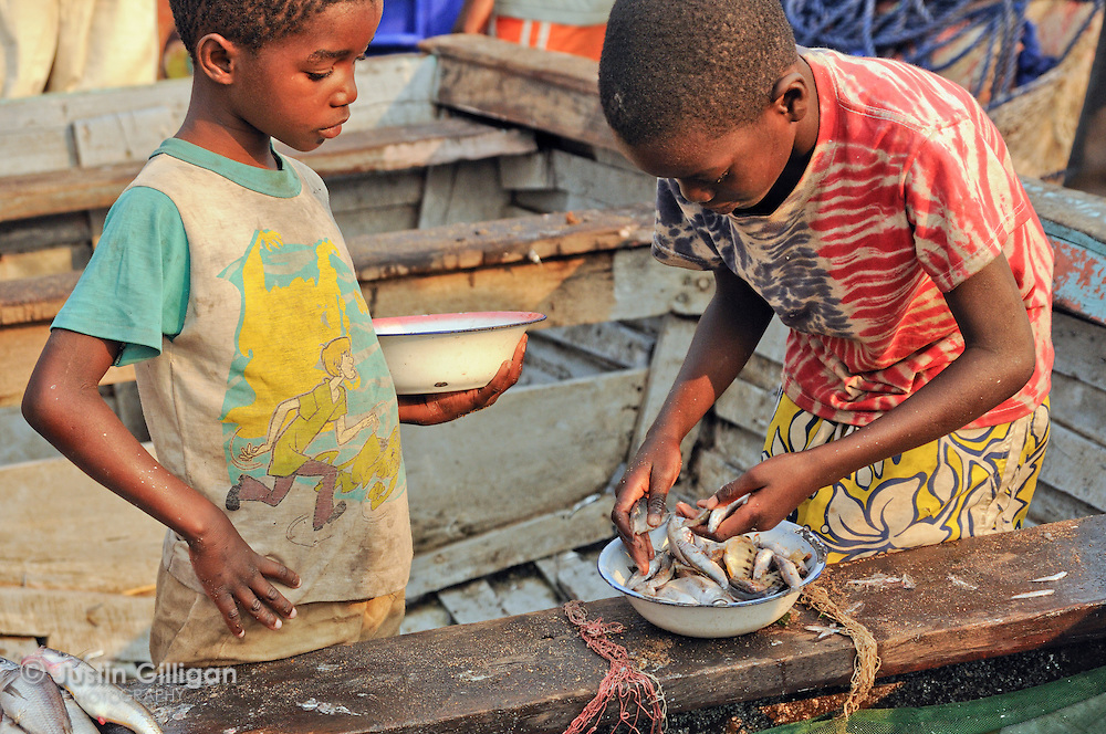 Young fishers with a collection of fallen fish found on the shore of Senga Bay, Lake Malawi, Malawi.