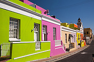 Colorful houses line the street in the Cape Malay district of Cape Town, South Africa. The quarter is also known as Bo-Kaap. http://www.gettyimages.com/detail/photo/cape-malay-district-cape-town-south-africa-royalty-free-image/142941496