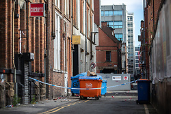 © Licensed to London News Pictures. 08/09/2019. Manchester, UK. GV of Twenty Twenty Two club . Police seal off several blocks in the Northern Quarter of Manchester City Centre and carry out extensive fingertip and forensic searches after an Audi A3 was driven at crowds during a fight , centred around Dale Street and Newton Street , in the early hours of the morning (Sunday 8th September 2019). It's understood a fight started at the Twenty Twenty Two Club before spilling out on to the streets at about 3:30AM . Photo credit: Joel Goodman/LNP