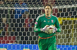 BRUSSELS, BELGIUM - Sunday, November 16, 2014: Wales' goalkeeper Wayne Hennessey in action against Belgium during the UEFA Euro 2016 Qualifying Group B game at the King Baudouin [Heysel] Stadium. (Pic by David Rawcliffe/Propaganda)