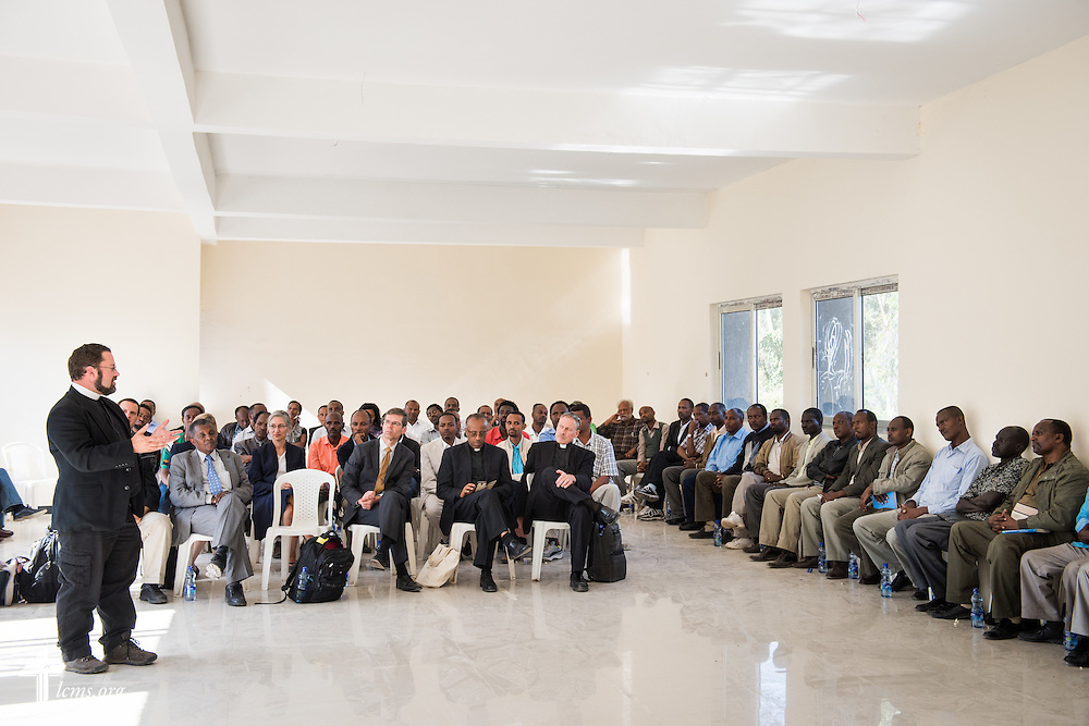 The Rev. Dr. Albert C. Collver, director of Church Relations and Regional Operations for the LCMS, addresses Mekane Yesus Seminary students on Monday, Nov. 10, 2014 in Addis Ababa, Ethiopia. LCMS Communications/Erik M. Lunsford