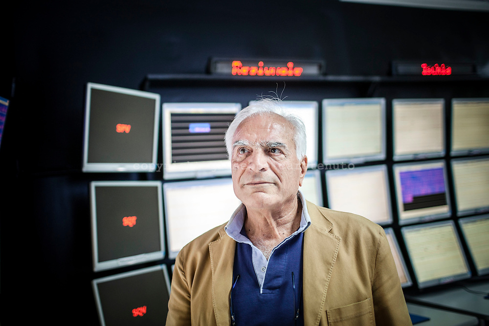 22 May 2017, Naples Italy - Prof. Giuseppe Luongo, Italian volcanologist for National Institute of Geophysics and Vulcanology (INGV) inside the control room of INGV in Naples. The system is connected with a series of sensors control installed on Vesuvio, Campi Flegrei, Ischia and Stromboli and check in everytime the condition of the vulcanos.
