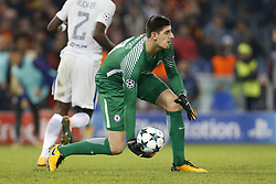 October 31, 2017 - Rome, Italy - Rome, Italy - 31/10/2017..Thibaut Courtois of Chelsea during the UEFA Champions League Group C soccer match against Roma at the Olympic stadium in Rome..UEFA Champions League Group C soccer match between AS Roma and Chelsea FC at the Olympic stadium in Rome. AS Roma defeating Chelsea FC 3-0. (Credit Image: © Giampiero Sposito/Pacific Press via ZUMA Wire)