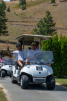 KELOWNA, CANADA - JULY 21: Alumni Tyrell Goulbourne shares a golf cart with Carter Rigby at the Kelowna Rockets Alumni golf tournament at Black Mountain Golf Club in Kelowna, British Columbia, Canada.  (Photo by Marissa Baecker/Shoot the Breeze)  *** Local Caption ***