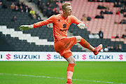 MK Dons goalkeeper Wieger Sietsma(13) clears the ball during the EFL Sky Bet League 1 match between Milton Keynes Dons and Scunthorpe United at stadium:mk, Milton Keynes, England on 28 April 2018. Picture by Nigel Cole.