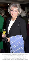 TV presenter ANGELA RIPPON at a luncheon in London on 13th December 2001.OWH 22