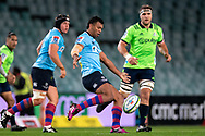 SYDNEY, NSW - MAY 19: Waratahs player Kurtley Beale kicks the ball at week 14 of the Super Rugby between The Waratahs and Highlanders at Allianz Stadium in Sydney on May 19, 2018. (Photo by Speed Media/Icon Sportswire)