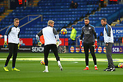 Leicester City goalkeepers warm up during the Premier League match between Leicester City and Manchester City at the King Power Stadium, Leicester, England on 18 November 2017. Photo by John Potts.