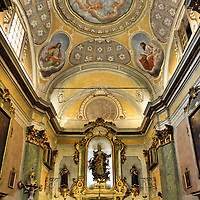 Church of Our Lady of the Assumption Altar in Éze, France<br /> A statue of the namesake for the Church of Our Lady of the Assumption sits above the altar in the nave of this Roman Catholic church that was consecrated in 1772.  Above her are marvelous frescos in the dome and semi-domes that are bathed in light.