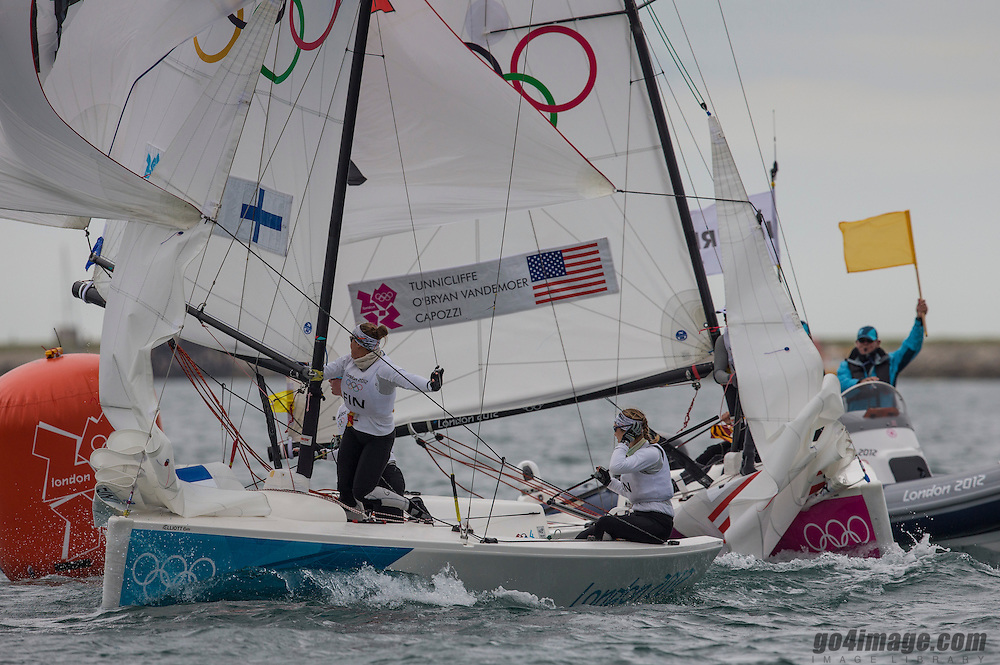 Match racing:<br /> Tunnicliffe Anna, Capozzi Deborah, Vandemoer Molly O'Bryan, (USA, Match Race)<br /> Kanerva Silja, Wulff Mikaela, Lehtinen Silja, (FIN, Match Race)<br /> <br /> 2012 Olympic Games <br /> London / Weymouth