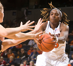 Virginia center Aisha Mohammed (33) grabs a rebound against Colorado.  The #16 ranked Virginia Cavaliers women's basketball team defeated the Colorado Buffaloes 77-43 at the John Paul Jones Arena on the Grounds of the University of Virginia in Charlottesville, VA on November 24, 2008.