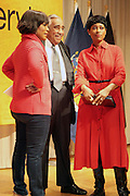 New York, NY- January 16:  Actress Angela Bassett, U.S. Congressman Charles Rangel, and Laysha Ward, president of community relations, Target at the New York City Service Program in Honor of Martin Luther King Jr. Day held at the Mirabel Sisters Campus in West Harlem, New York City. Photo Credit: Terrence Jennings