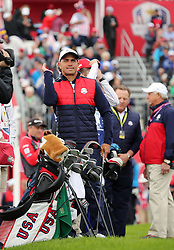 USA's Kelly Slater during a celebrity golf match ahead of the 41st Ryder Cup at Hazeltine National Golf Club in Chaska, Minnesota, USA.