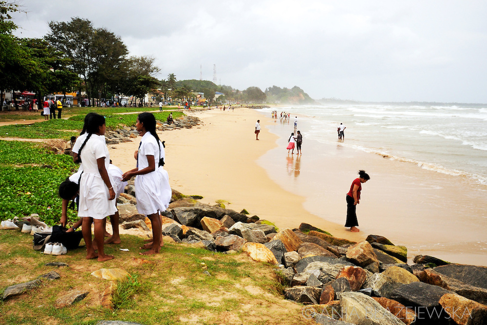 Sri Lanka, Matara. Schoolgirls at the beach.