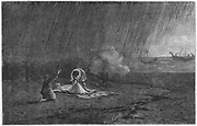 Death of Pliny the Elder (Gaius Plinius Secundus 23-79) in the eruption of Vesuvius.  Roman writer and author of 'Historia naturalis'. Engraving from 'Vie des Savants Illustres' by Louis Figuier. (Paris, 1866).