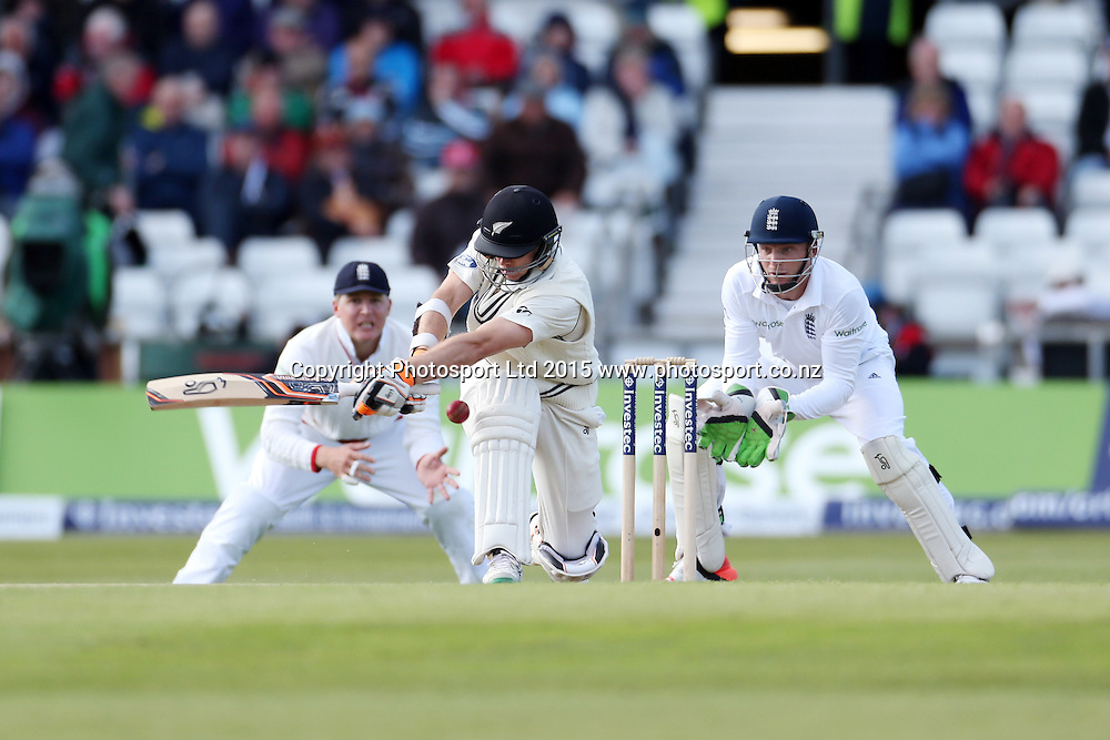 Tom Latham not lbw to Moeen Ali during the second Investec Test Match between England and New Zealand at Headingley, Leeds. Photo: Graham Morris/www.photosport.co.nz