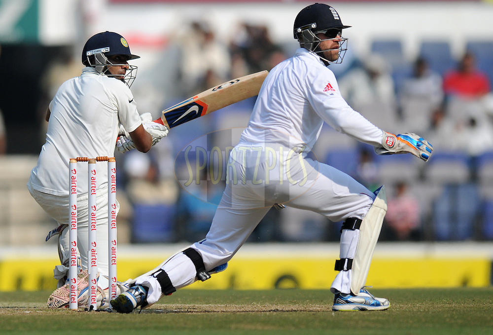 Ravichandran Ashwin of India plays a reverse sweep as he bats during day four of the 4th Airtel Test Match between India and England held at VCA ground in Nagpur on the 16th December 2012..Photo by  Pal Pillai/BCCI/SPORTZPICS .