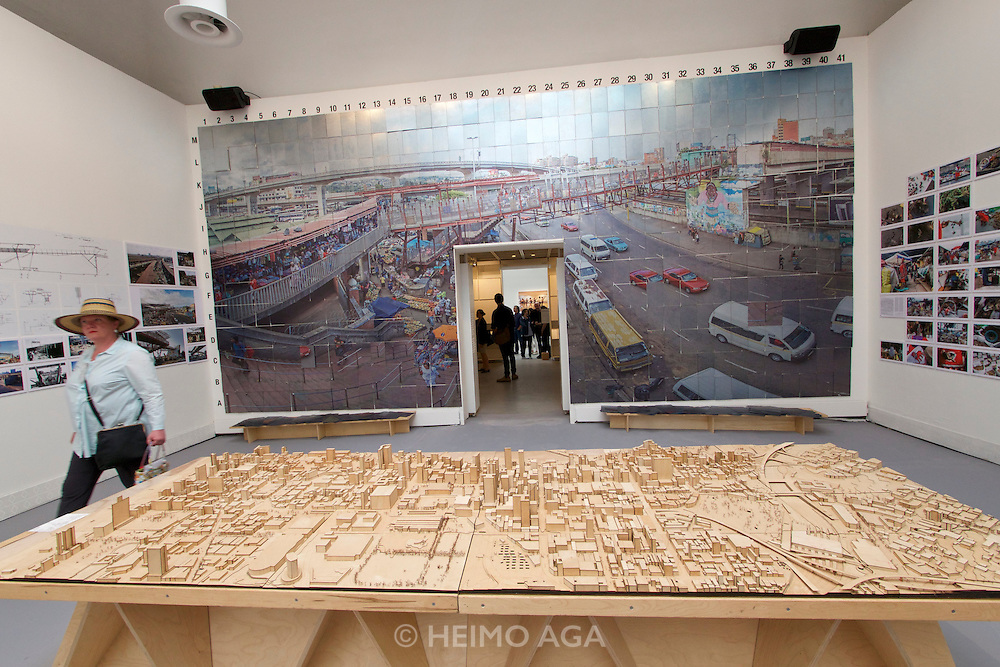 "Venice, Italy - 15th Architecture Biennale 2016, ""Reporting from the Front"".<br /> International Pavilion.<br /> Andrew Makin and Aside Etafuleni in South Africa. The transformation of Warwick Triangle from the most dangerous into the most lively part of Durban."