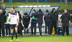 Falkirk's bench after Blair Alston misses a first half chance.<br /> Cowdenbeath 0 v 2 Falkirk, Scottish Championship game today at Central Park, the home ground of Cowdenbeath Football Club.<br /> &copy; Michael Schofield.
