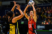 Kate Beveridge of the Tactix with Sulu Fitzpatrick of the Pulse during the ANZ Premiership Netball match, Tactix v Pulse, Horncastle Arena, Christchurch, New Zealand, 29th April 2019.Copyright photo: John Davidson / www.photosport.nz