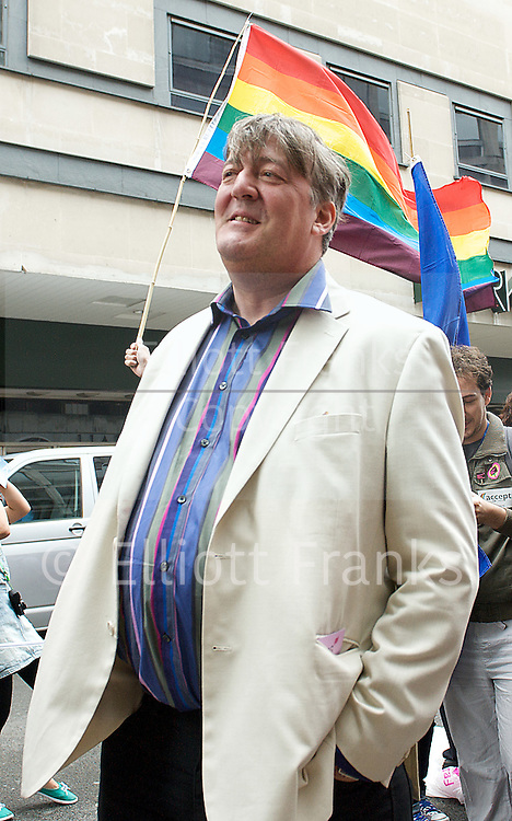 World Pride &amp; London Pride event <br /> Baker Street / Trafalgar Square, London, Great Britain <br /> artists including Boy George<br /> 7th July 2012 <br /> <br /> Photograph by Elliott Franks <br /> <br /> Londons' World Pride event was significantly &quot;scaled back&quot; at an emergency all-agencies meeting on the 27th June 2012, 9 days before the event was due to take place and after the festival fortnight had started. Pride London organisers had failed to secure the monies necessary for contractors of key areas of the work, and they announced that all activites were being cut or cancelled. The London Evening Standard reported that four contractors from the previous year's Pride event were owed &pound;65,000 in unpaid debts, though this has been officially denied by Pride London. Consequently, the entertainment and stages were all cut, and license applications for street parties in Soho withdrawn. Instead, the event plans included a Pride Walk (without floats or vehicles), and a scaled back rally in Trafalgar square. On 5th July, the Metropolitan Police issued a license regulations notice to all venues in Soho, reminding them that Pride London now has no license for street events in the Soho area, and therefore venues should treat WorldPride as &quot;any normal day&quot;