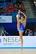 Halkina Katsiaryna during final at ball in Pesaro World Cup 12 April 2015.   Katsiaryna is a Belarusian rhythmic gymnastics athlete born  February 25, 1997 in Minks, Belarus.