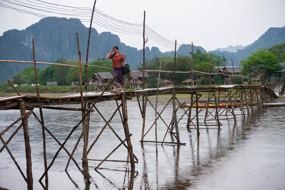 Vang Vieng, Laos. Nam Song River and karst mountains