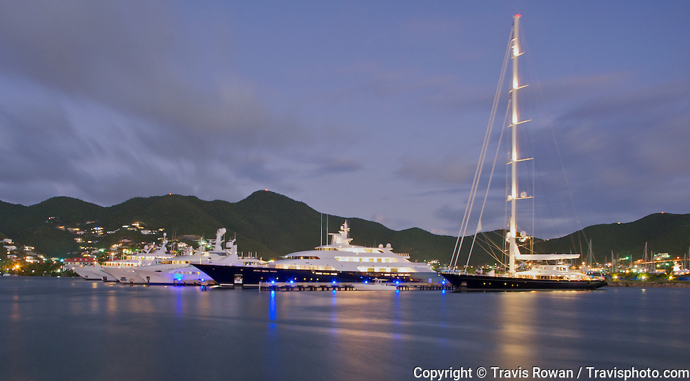 M/Y Limitless docked in St. Martin, Caribbean.