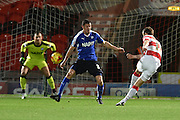 Andy Williams of Doncaster Rovers shoots at goal during the Sky Bet League 1 match between Doncaster Rovers and Chesterfield at the Keepmoat Stadium, Doncaster, England on 24 November 2015. Photo by Ian Lyall.