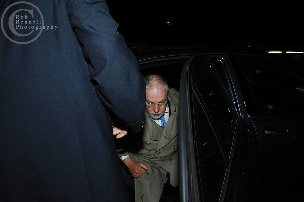 "New York, NY - Thursday, Nov. 1, 2007 - A man believed to be so-called ""Vulture Capitalist"" Paul Singer exits a Mercedes (bearing NYS license plate BZ2-81A) and enters 1 West 81st Street in Manhattan. ..Rob Bennett for The New York Times"