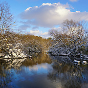 &quot;On a Golden Afternoon&quot; <br /> <br /> Wonderful golden late afternoon sunlight on a snow laden landscape on the Huron River in Ann Arbor Michigan!