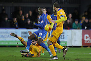 Ade Azeez of AFC Wimbledon during the Sky Bet League 2 match between AFC Wimbledon and Mansfield Town at the Cherry Red Records Stadium, Kingston, England on 16 January 2016. Photo by Stuart Butcher.