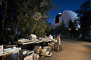 Lick Observatory on Mt. Hamilton. San Jose, California. Old computer equipment put out for recycling/trash pickup. Outside the 120-inch telescope. (Dome is lit by the full moon, 30-second exposure.)  Exoplanets & Planet Hunters