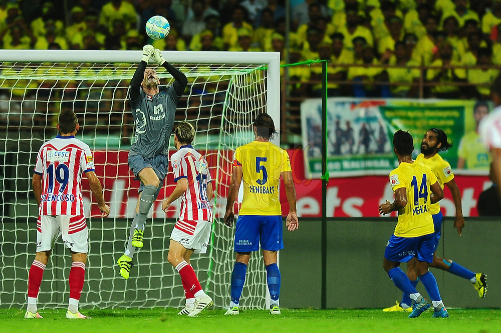 Kerala Blasters FC goalkeeper Graham Stack saves a goal during match 5 of the Indian Super League (ISL) season 3 between Kerala Blasters FC and Atletico de Kolkata held at the Jawaharlal Nehru Stadium in Kochi, India on the 5th October 2016.<br /> <br /> Photo by Faheem Hussain / ISL/ SPORTZPICS