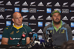 October 21, 2016 - Auckland, New Zealand - Australia captain Stephen Moore and coach Michael Cheika speak to the media after the Australia Wallabies captain's run at Eden Park in Auckland, New Zealand, ahead of the Third Bledisloe Cup test match against New Zealand on Oct 22. (Credit Image: © Shirley Kwok/Pacific Press via ZUMA Wire)