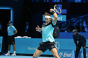 Rafael Nadal fires a forehand back during the ATP World Tour Finals at the O2 Arena, London, United Kingdom on 20 November 2015. Photo by Phil Duncan.