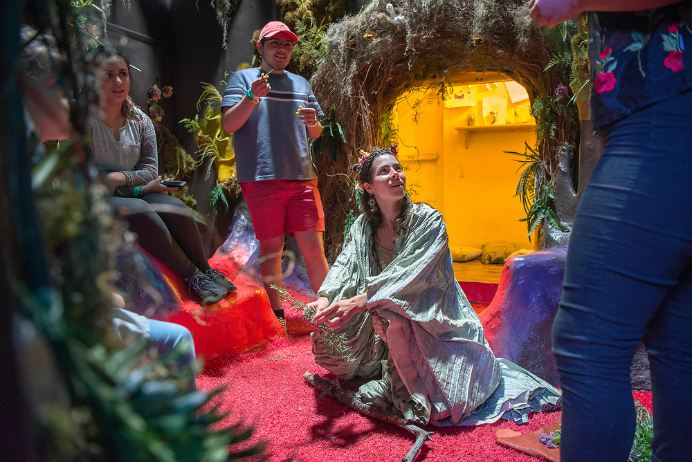 em053117d/jnorth/Amy Glasser, as Tula Rosa, performs an act with plants that is part of Meow Wolf's Summer in the Multiverse at the House of Eternal Return in Santa Fe Wednesday May 31, 2017.  (Eddie Moore/Albuquerque Journal